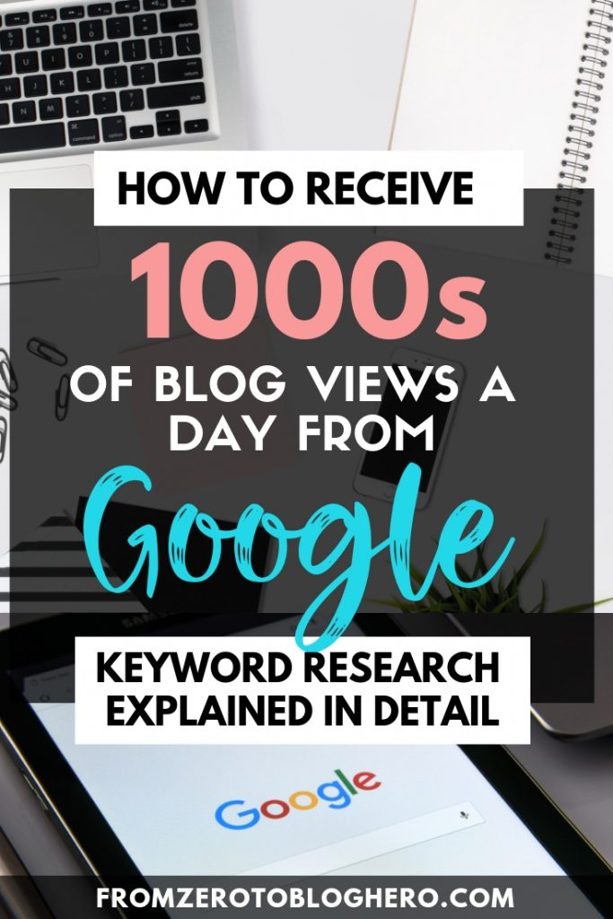 If you want to get thousands of blog views every day from Google you need to do keyword research. If you're not sure what that means, this is the guide for you. I go through the exact step by step keyword research process I follow that took me from 1,000 organic search sessions to 75,000+ in 1.5 years. Click here to discover how to find killer keywords that you can rank for on Google! #google #blog #blogging #blogadvice #seo #seotips