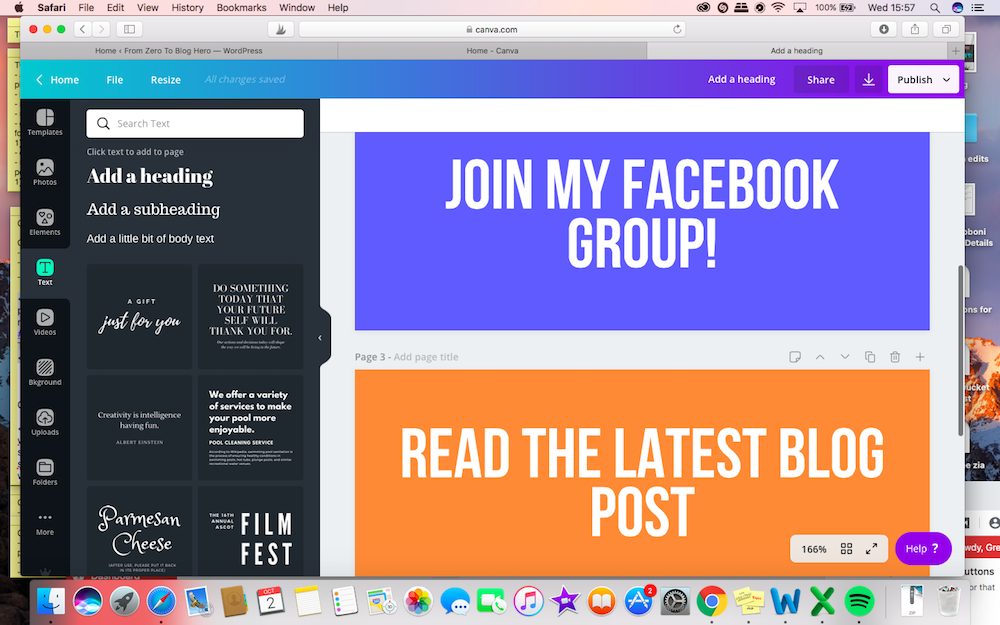 Screenshot of Canva showing how to customise photos