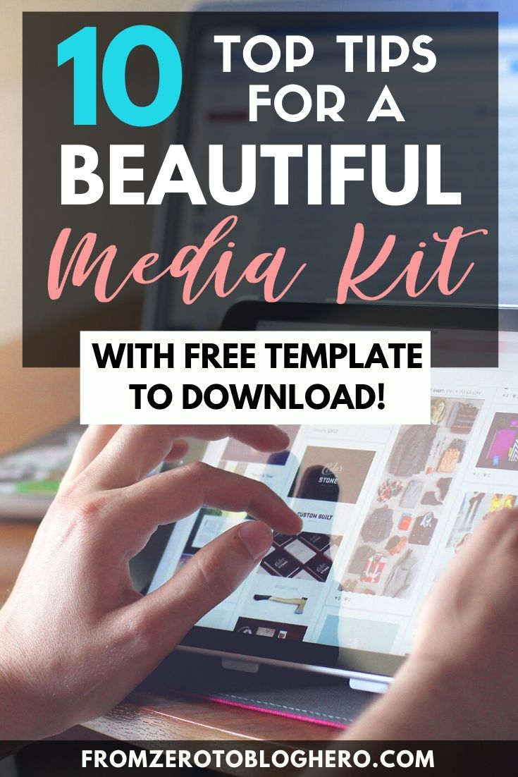 "Photo of a hand working on an iPad with text overlay saying ""10 top tips for a beautiful media kit - with free template to download!"""