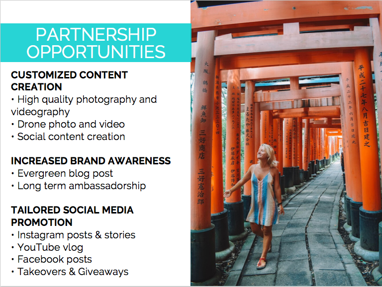A screenshot from my media kit outlining collaboration opportunities