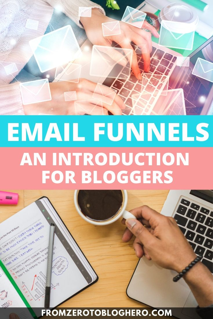 "Collage of desks and laptops with text overlay saying ""Email funnels - an introduction for bloggers"""