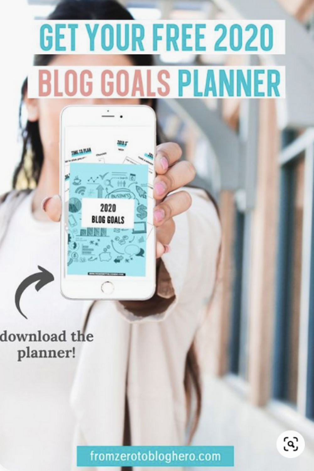 A sample pin we used to share our free 2020 goals planner
